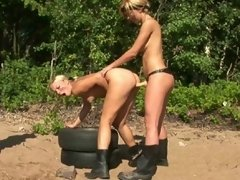 Blonde lesbian soldiers exercising and fucking