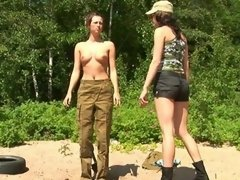 Lady sergeant drills a dutiful army girl