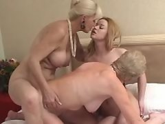 Old lesbians caress innocent chick