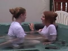 Beautiful lesbians have fun in pool