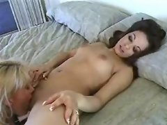 Lovely lesbian angels make oral sex