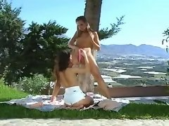 Teen lesbo angels play with sex toys in forest